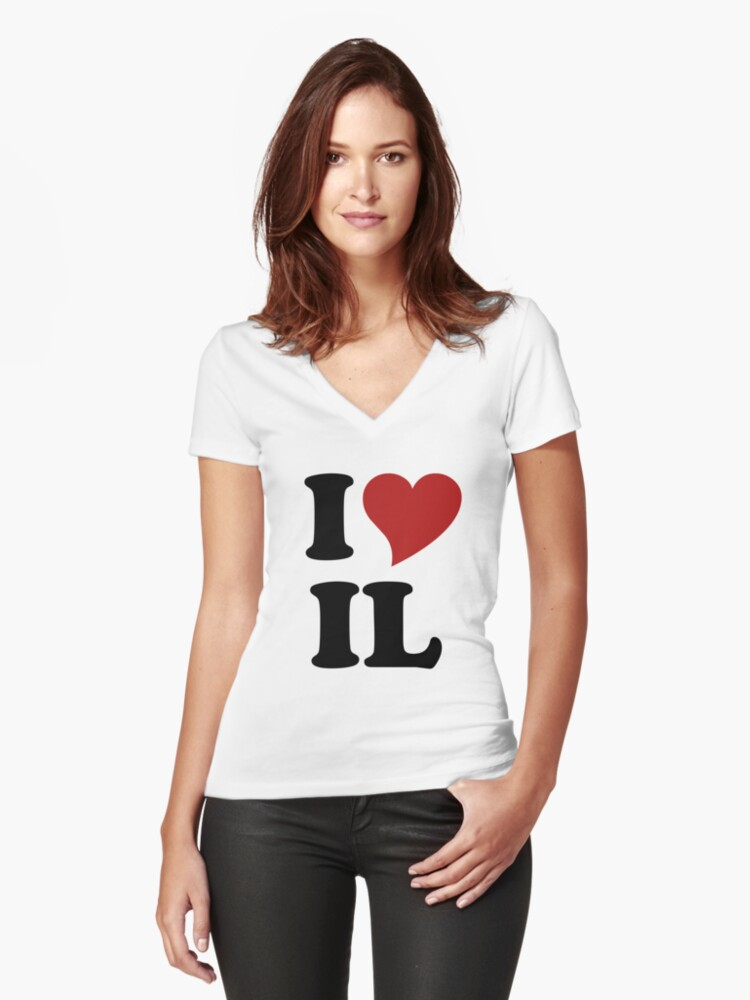I love Illinois  Women's Fitted V-Neck T-Shirt Front