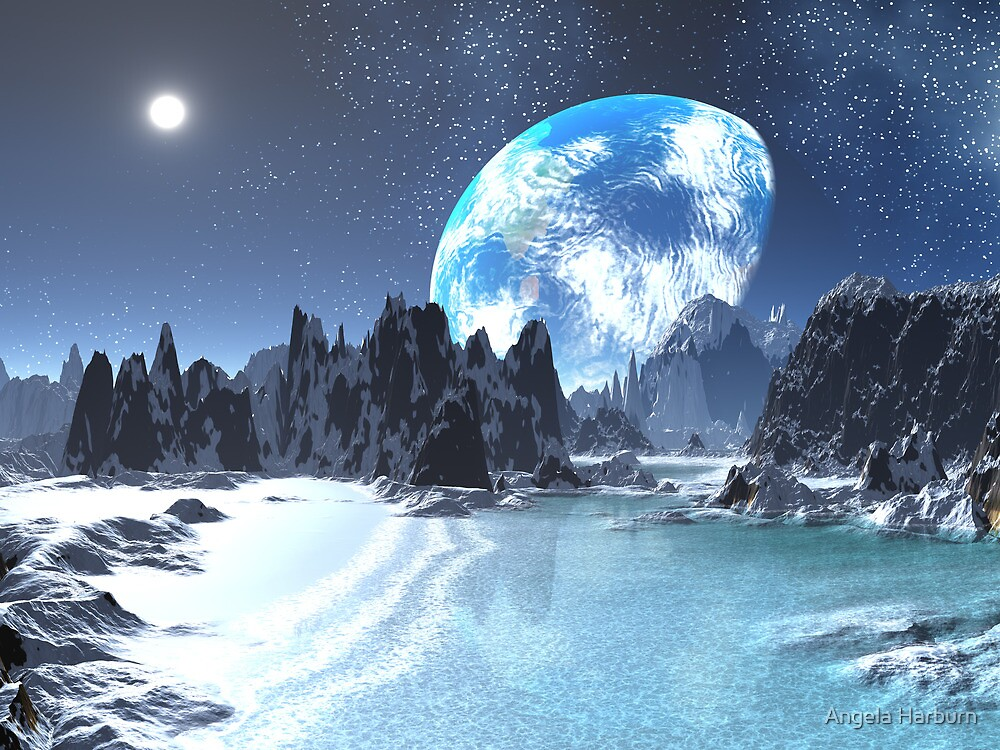 Winter Earth-rise over Alien Shores by Angela Harburn
