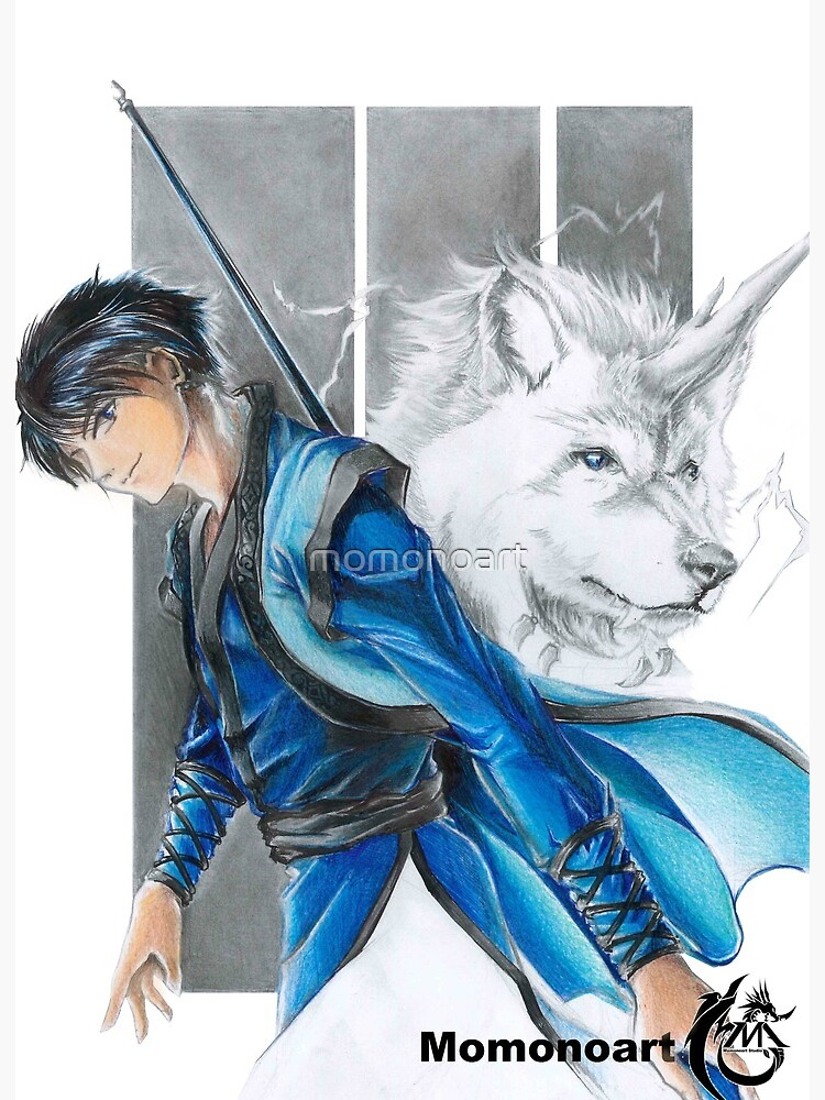 Raiju Hak Art Board Print By Momonoart Redbubble Its body is composed of lightning and with the form of a white and blue wolf or dog. redbubble