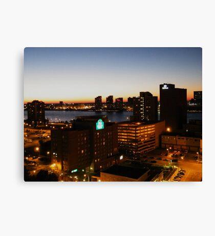 Windsor/Detroit Skyline at Sunset II Canvas Print