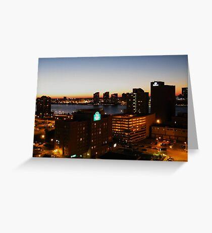Windsor/Detroit Skyline at Sunset II Greeting Card