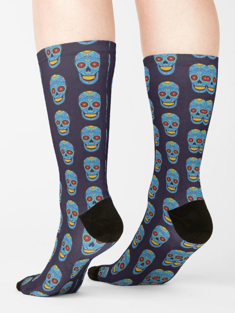 Alternate view of Blue Sugar Skull Socks