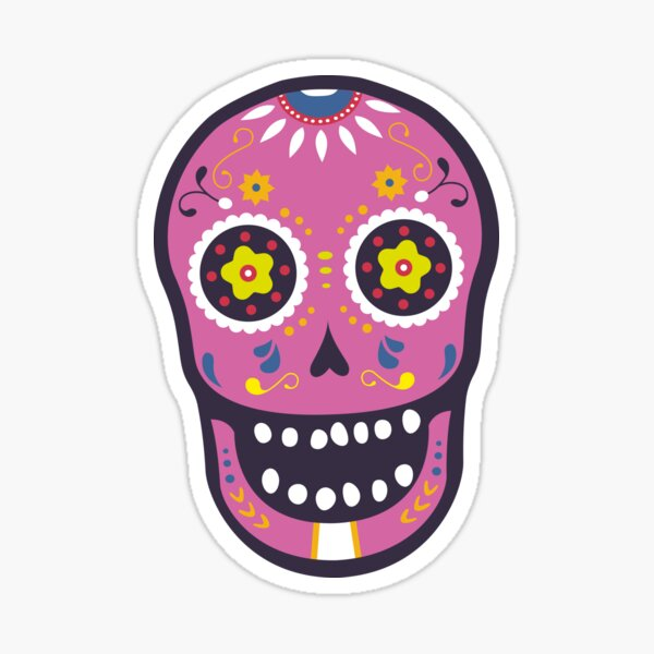 Pink Sugar Skull Sticker