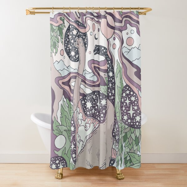 Jurassic Portal | Purple Haze Palette | Dinosaur Science Fiction Art Shower Curtain