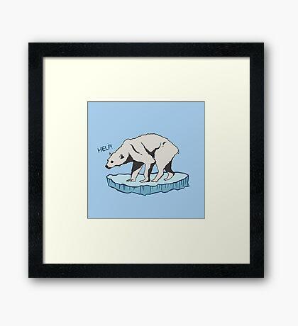 Polar Bear - Help! Framed Print