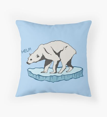 Polar Bear - Help! Throw Pillow