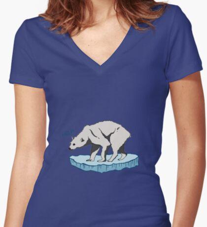 Polar Bear - Help! Fitted V-Neck T-Shirt