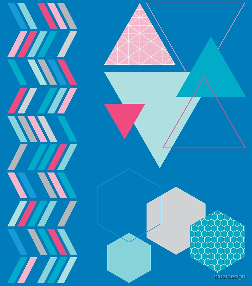 Geometric Shapes Blue Pink Abstract by blueidesign
