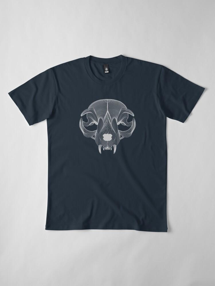 Alternate view of Silver Cat Skull Premium T-Shirt