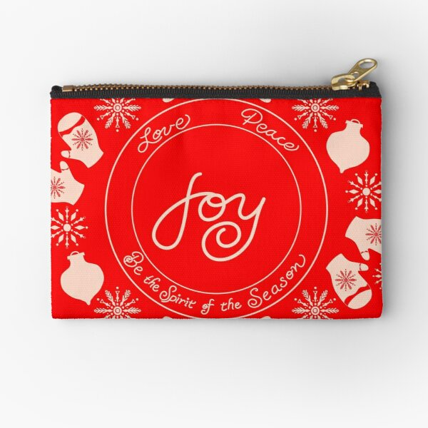 Be the spirit of joy for the holiday season through peace and love within snowflakes and mittens Zipper Pouch