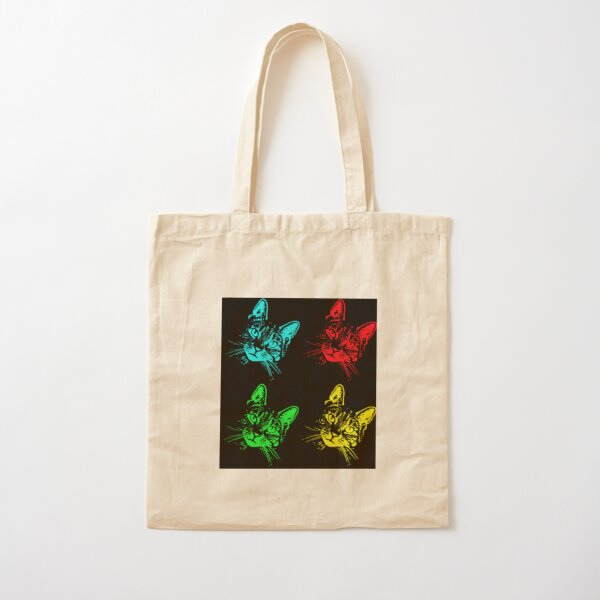 Tabby Cat Pop Art  Blue, Red, Green, Yellow Cotton Tote Bag