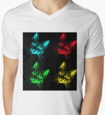 Tabby Cat Pop Art  Blue, Red, Green, Yellow V-Neck T-Shirt