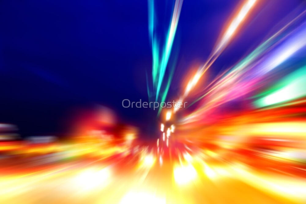 speed motion on night road by Orderposter