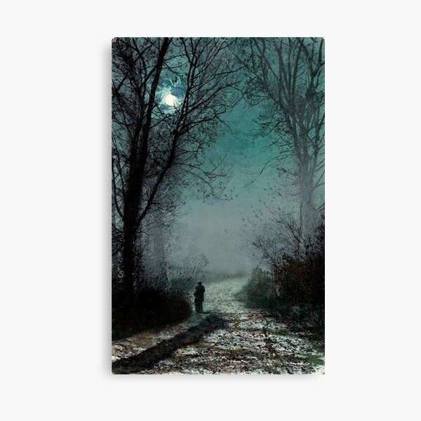 John Atkinson Grimshaw - Lovers on a moonlit Lane Canvas Print