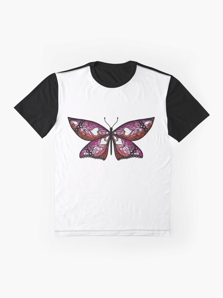 Alternate view of Fly With Pride: Lesbian Flag Butterfly Graphic T-Shirt