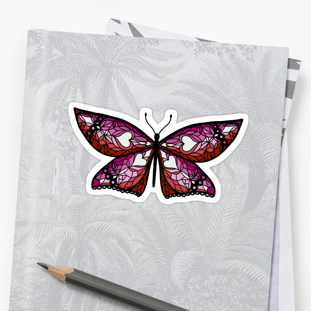 Fly With Pride: Lesbian Flag Butterfly Sticker