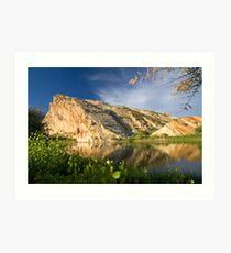 Split Mountain Reflections Art Print