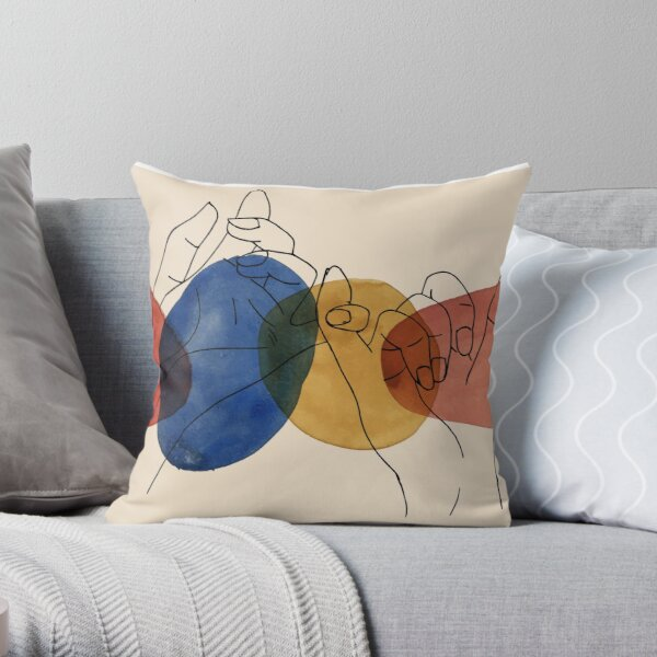 Colorful Pinky Promise Illustration Throw Pillow