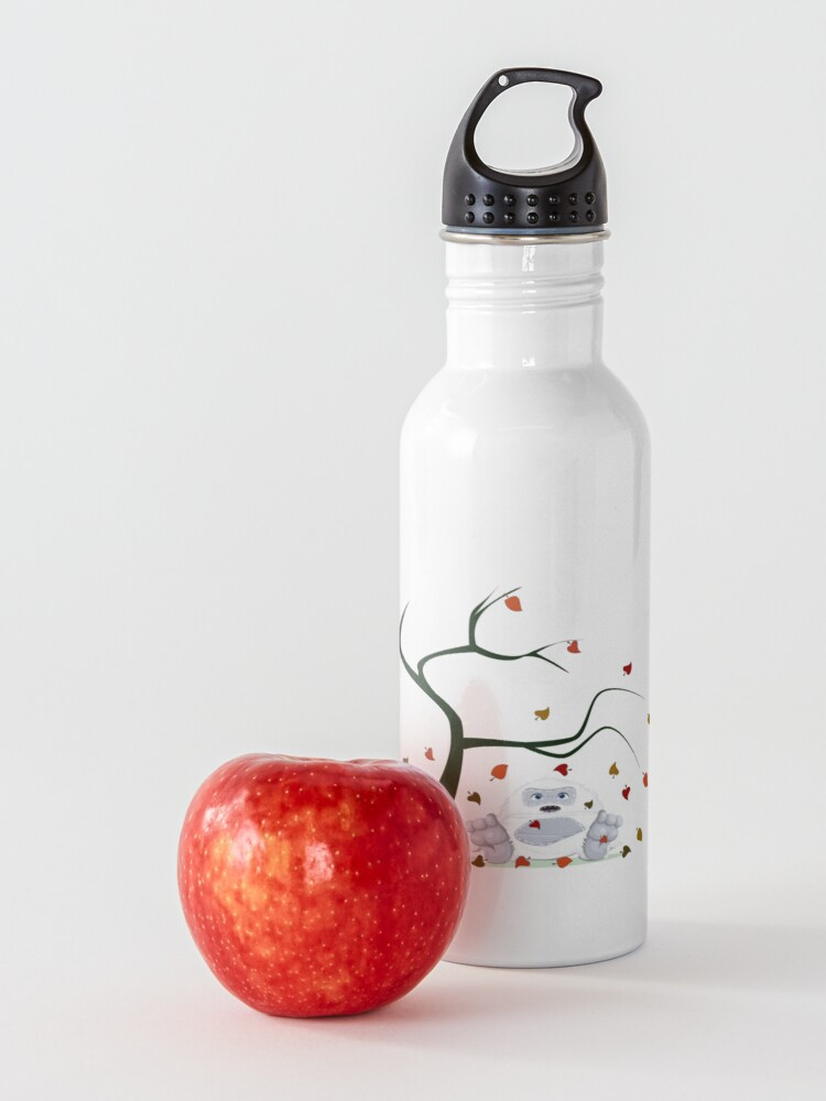 Alternate view of Autumn Design - Kawaii Little Yeti With Falling leaves Water Bottle