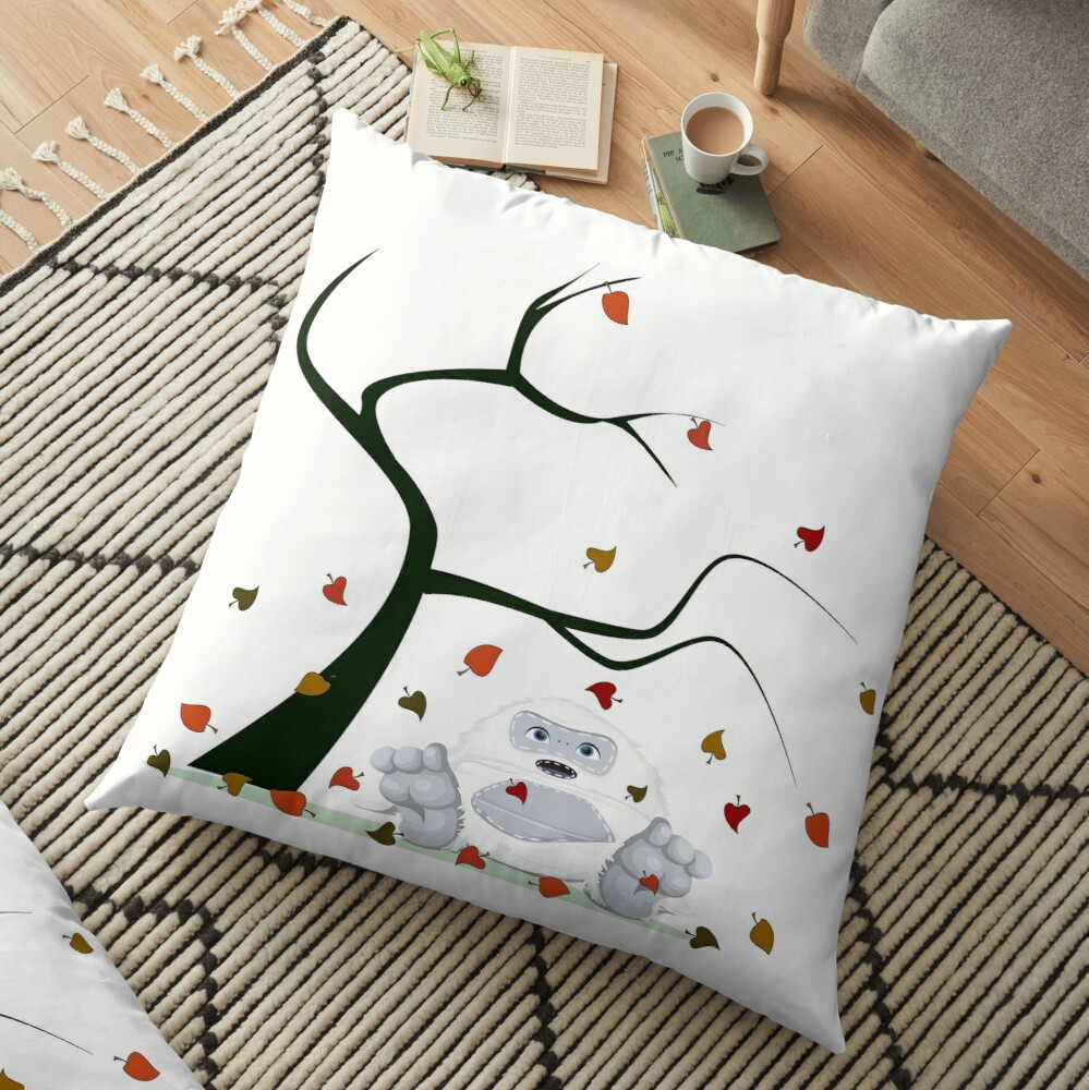 Autumn Design - Kawaii Little Yeti With Falling leaves Floor Pillow