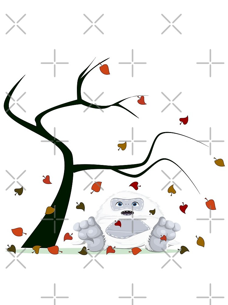 Autumn Design - Kawaii Little Yeti With Falling leaves by talgursmusthave