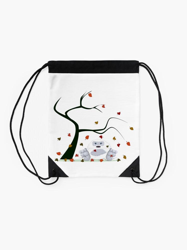 Alternate view of Autumn Design - Kawaii Little Yeti With Falling leaves Drawstring Bag