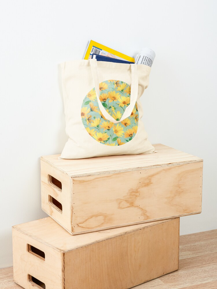 Alternate view of Painted Golden Yellow Daisies on soft sage green Tote Bag