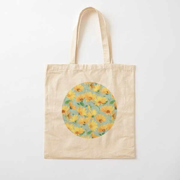 Painted Golden Yellow Daisies on soft sage green Cotton Tote Bag