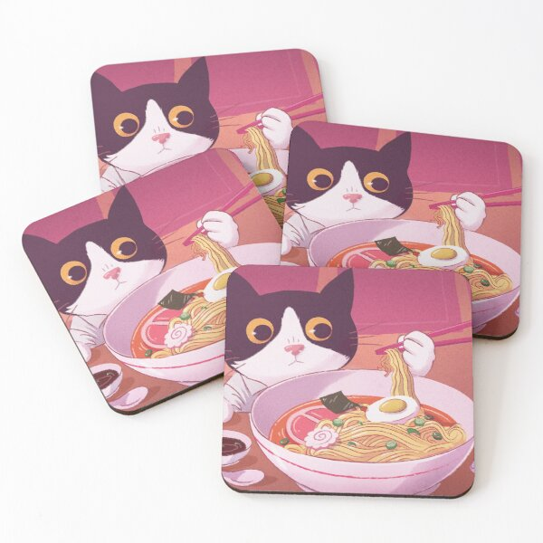 Cute black and white cat eating delicious Noodles Ramen with chopsticks Coasters (Set of 4)