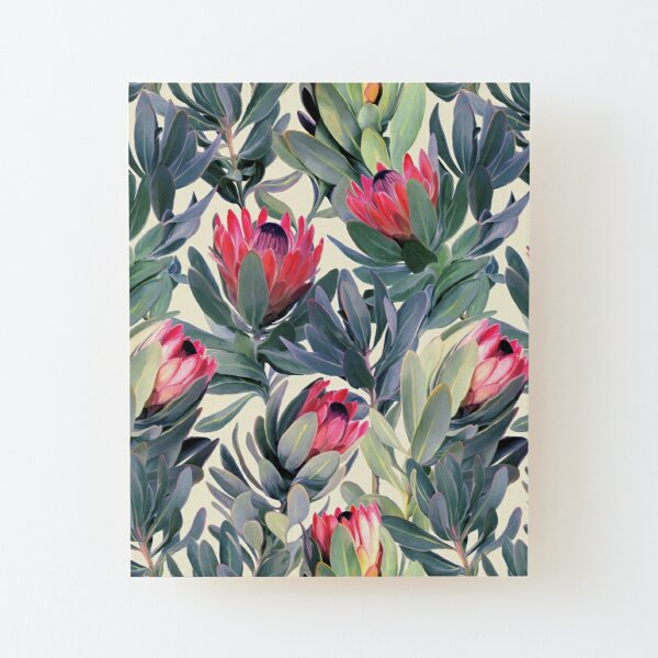 Painted Protea Pattern Wood Mounted Print
