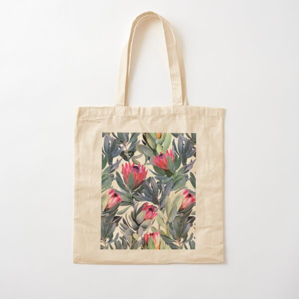 Painted Protea Pattern Cotton Tote Bag