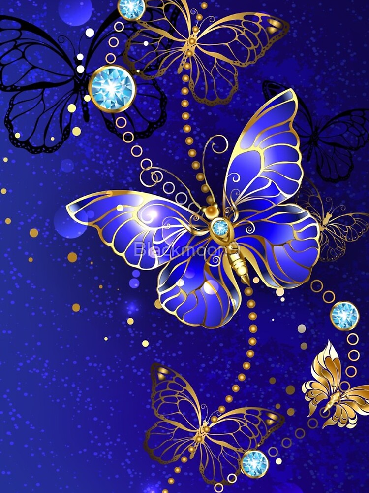 Blue Background with Sapphire Butterfly by Blackmoon9