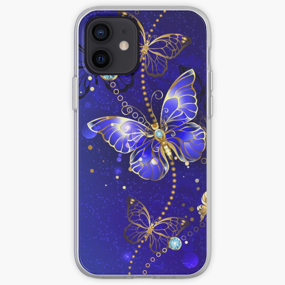 Blue Background with Sapphire Butterfly iPhone Case & Cover