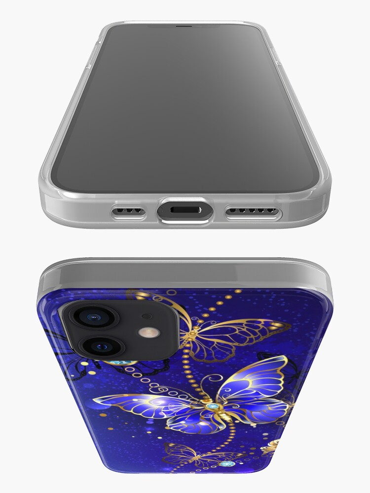 Alternate view of Blue Background with Sapphire Butterfly iPhone Case & Cover