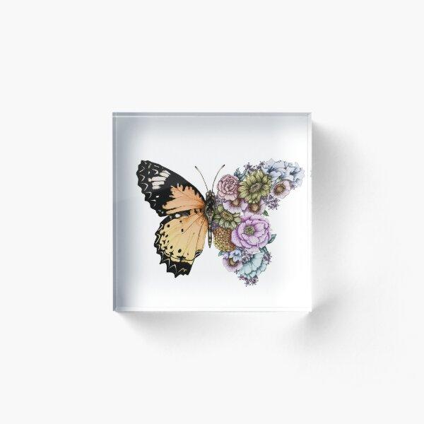 Schmetterling in Blüte II Acrylblock
