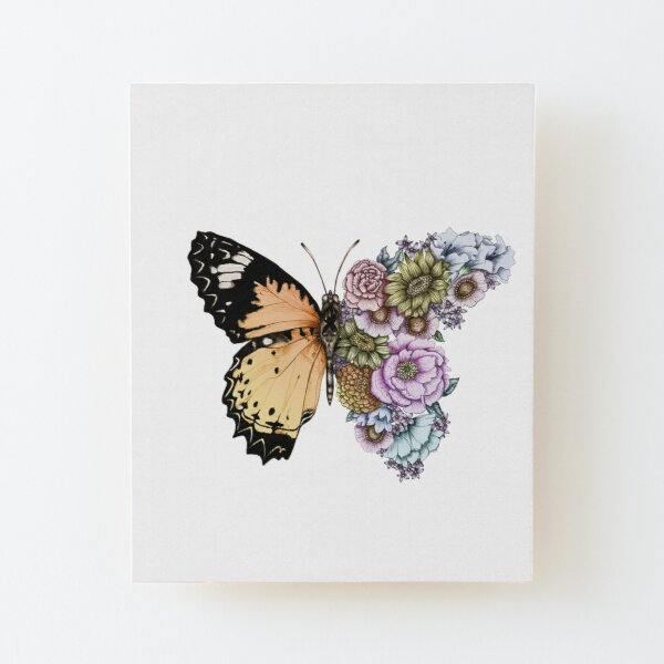 Butterfly in Bloom II Wood Mounted Print