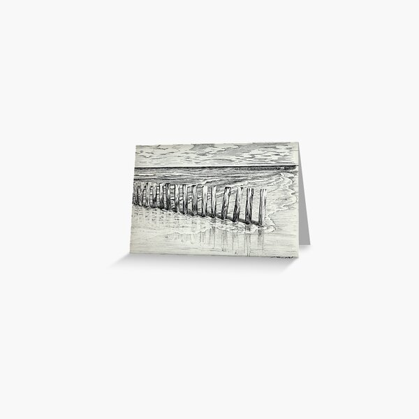 THE NORTH SEA BEACH - PEN DRAWING Greeting Card
