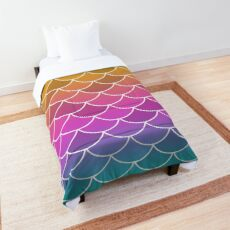 Gold Pink Blue Fish Scales Comforter