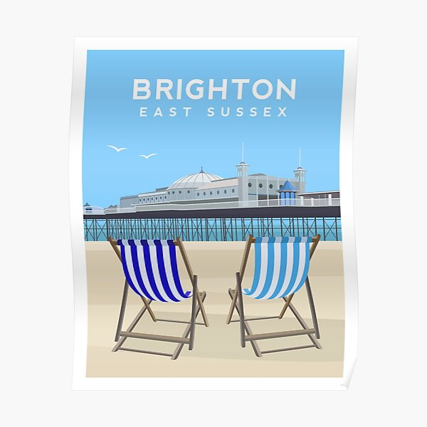 Brighton Pier and Beach, East Sussex Poster