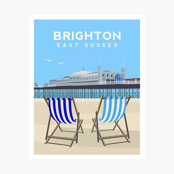 Brighton Pier and Beach, East Sussex Photographic Print