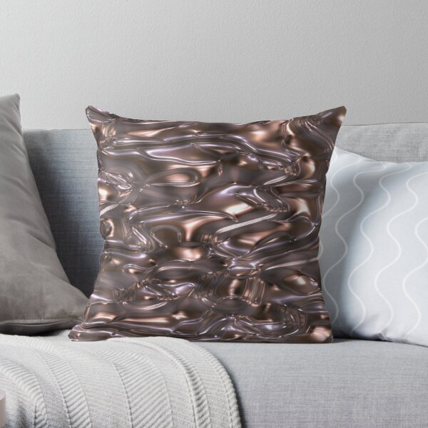 Decorative pleated satin with metallic effect. Throw Pillow