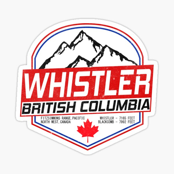 Retro Ski Whistler B.C Canada Skiing and Mountain Biking Paradise Sticker