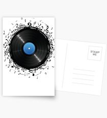 33 Vinyl Record Music Notes Postcards