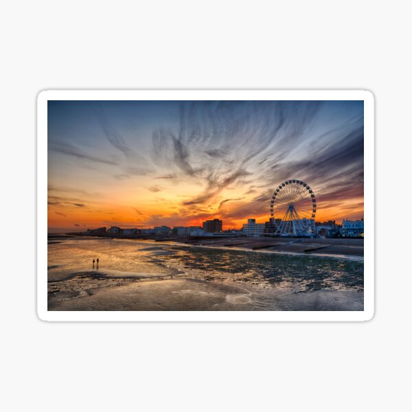 Worthing Beach Sunset Sticker