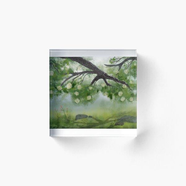 Hydrangea Shade Acrylic Block