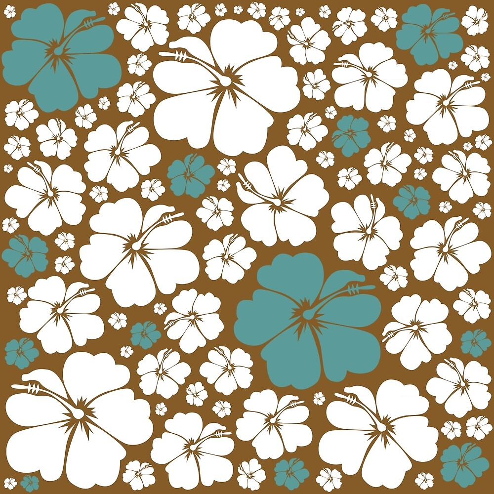 Hibiscus - Teal & Gold by Kirsten Chambers