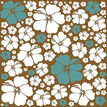 Hibiscus - Teal & Gold by KirstenChambers