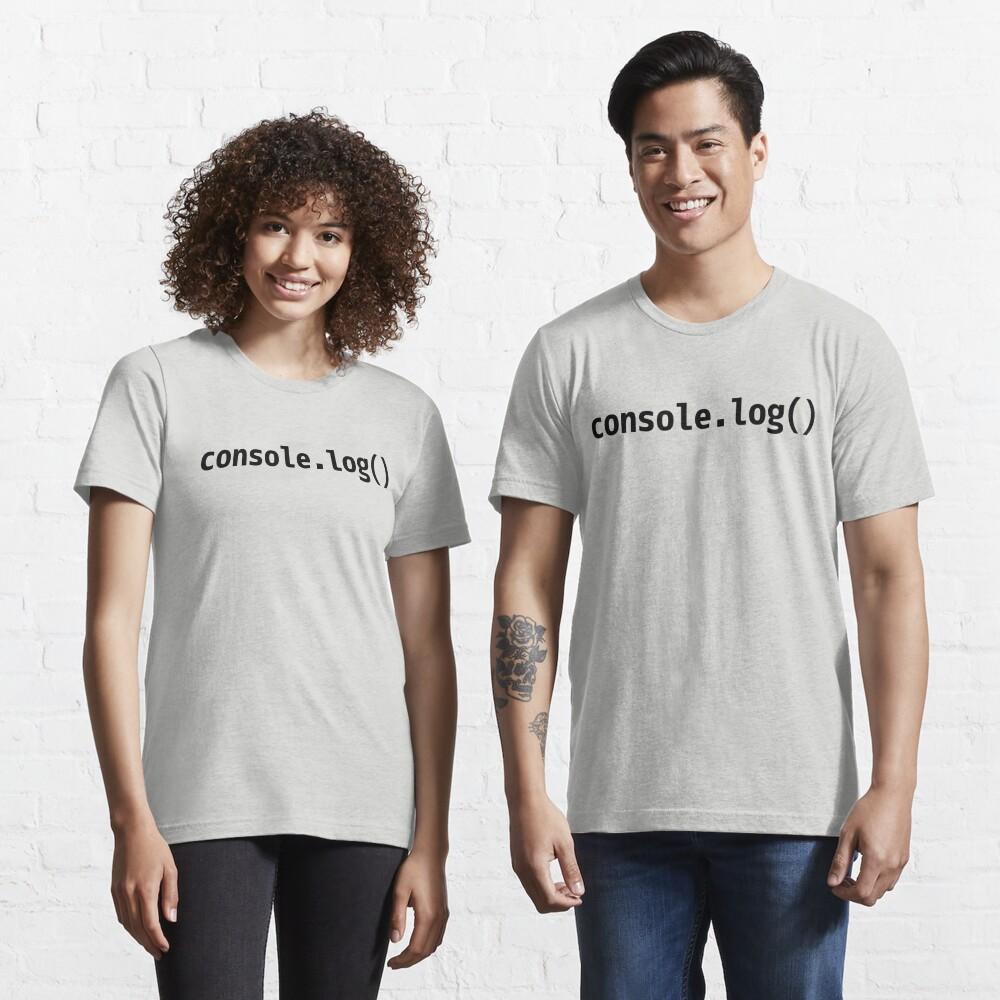 console.log() - JavaScript/Web Developer Black Text Design Essential T-Shirt