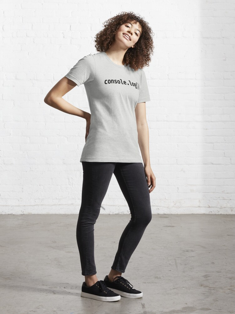 Alternate view of console.log() - JavaScript/Web Developer Black Text Design Essential T-Shirt