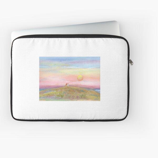Best Friends, original watercolor painting by Pamela Parsons. Childhood, little boy, little girl, sunset, beach, ocean Laptop Sleeve